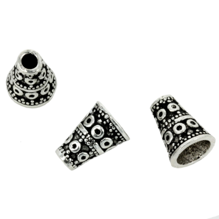 Bali-Style Cone End Cap in Sterling Silver 7x10mm