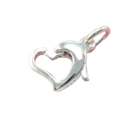 Heart Shape Trigger Clasp in Sterling Silver 7.9x9.8mm