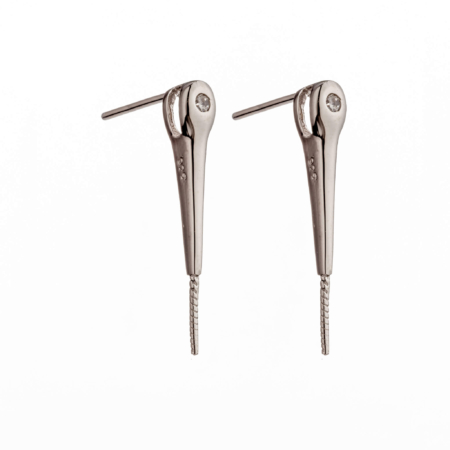 Ear Studs with Cubic Zirconia Inlays and Peg Mounting in Sterling Silver 2mm