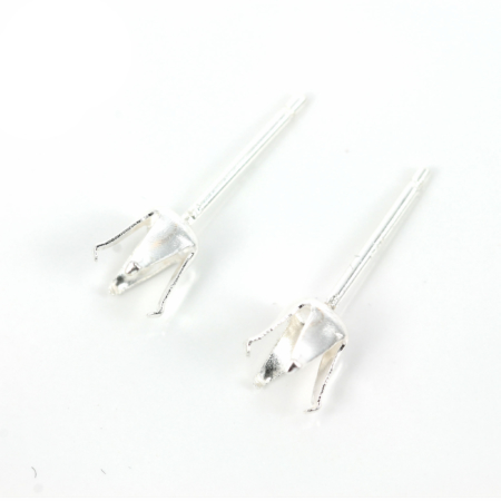 Ear Studs with Crown Mounting in Sterling Silver 4mm