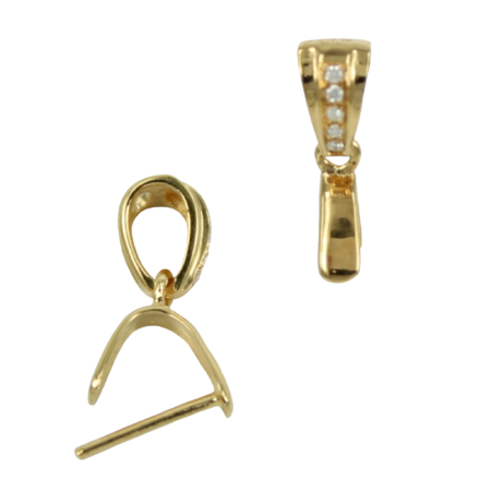 18Kt Gold Classic Pinch Bail with Diamond Accents 11.4x6mm
