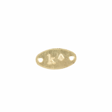 "18Kt Gold Oval Jewelry Tag Stamped ""K"""