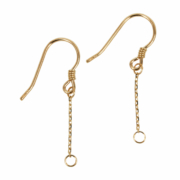 18Kt Gold Earwire with Loop and Chain Dangle