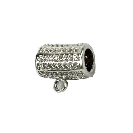 Curved Tube Pinch Bail with Cubic Zirconia Inlays in Sterling Silver 12x7.3mm