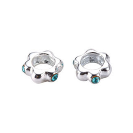 Colored Cubic Zirconia Floral Spacer Bead in Sterling Silver 2.95x8.2mm
