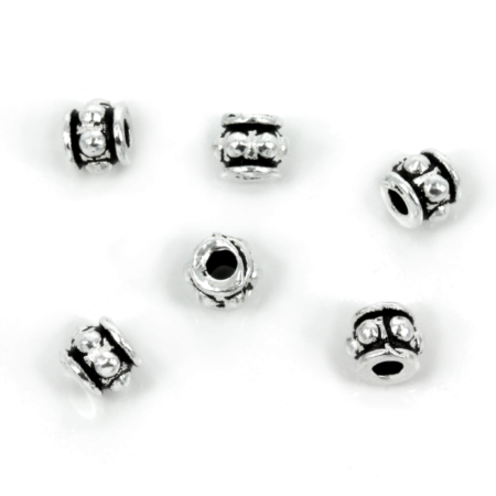 Bali-Style Short Tube Bead in Sterling Silver 5x4mm