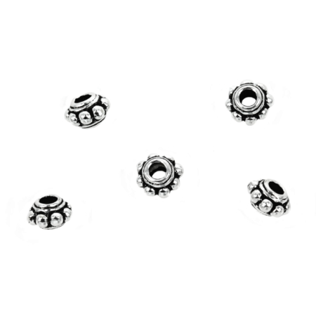 Bali-Style Bicone Bead in Sterling Silver 6x4mm